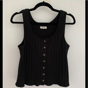 Madewell Black Ribbed Button-Front Tank Top Sz L